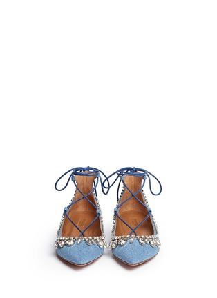 Front View - Click To Enlarge - Aquazzura - 'Christy' strass lace-up denim flats