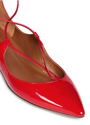 Detail View - Click To Enlarge - Aquazzura - 'Christy' lace-up patent leather flats