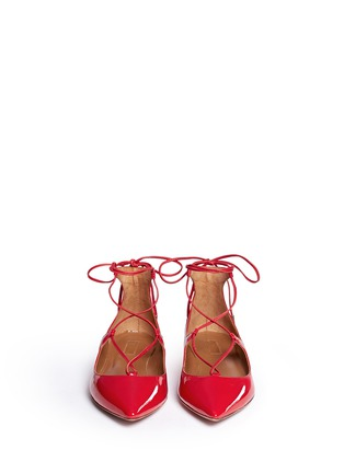 Front View - Click To Enlarge - Aquazzura - 'Christy' lace-up patent leather flats
