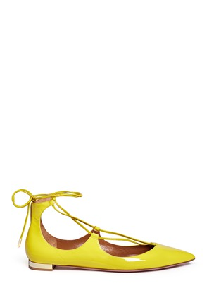 Main View - Click To Enlarge - Aquazzura - 'Christy' lace-up patent leather flats