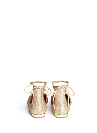 Back View - Click To Enlarge - Aquazzura - 'Christy' lace-up metallic glitter flats