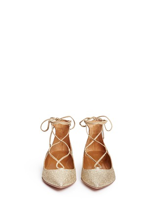 Front View - Click To Enlarge - Aquazzura - 'Christy' lace-up metallic glitter flats