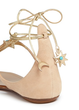 Detail View - Click To Enlarge - Aquazzura - x Poppy Delevingne 'Midnight' metallic star suede lace-up sandals