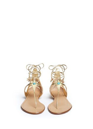 Front View - Click To Enlarge - Aquazzura - x Poppy Delevingne 'Midnight' metallic star suede lace-up sandals