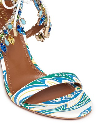Detail View - Click To Enlarge - Aquazzura - 'Milla' crystal fringe floral print leather sandals