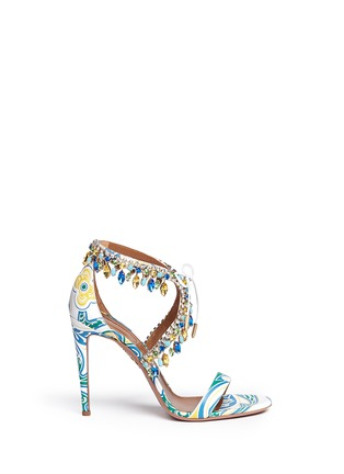 Main View - Click To Enlarge - Aquazzura - 'Milla' crystal fringe floral print leather sandals