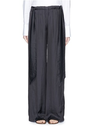 Main View - Click To Enlarge - Cédric Charlier - Gathered waist satin wide leg pants
