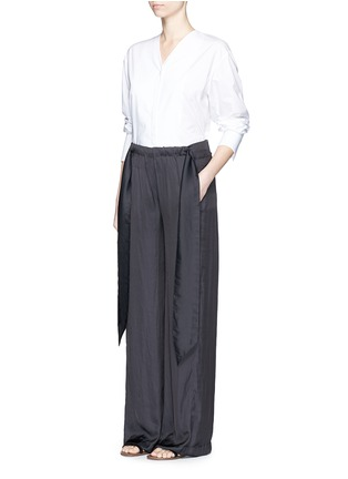 Figure View - Click To Enlarge - Cédric Charlier - Gathered waist satin wide leg pants