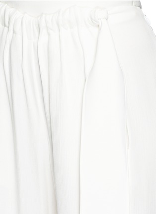 Detail View - Click To Enlarge - Cédric Charlier - Gathered waist crépon wide leg pants