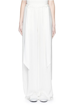 Main View - Click To Enlarge - Cédric Charlier - Gathered waist crépon wide leg pants