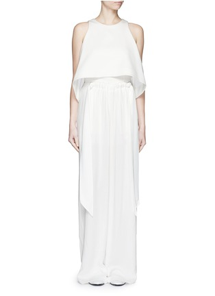 Figure View - Click To Enlarge - Cédric Charlier - Gathered waist crépon wide leg pants
