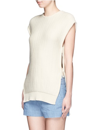 Front View - Click To Enlarge - Cédric Charlier - Open side rope drawstring knit top
