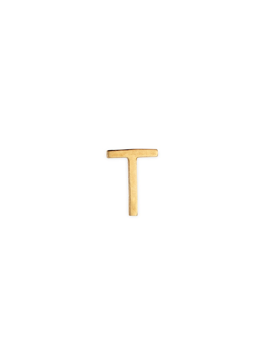 LOQUET LONDON 18K Yellow Gold Letter Charm – T
