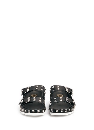 Front View - Click To Enlarge - Ash - 'Utopia' stud leather slide sandals