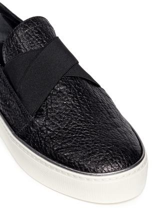 Detail View - Click To Enlarge - Stuart Weitzman - 'Flex' elastic strap grainy leather skate slip-ons
