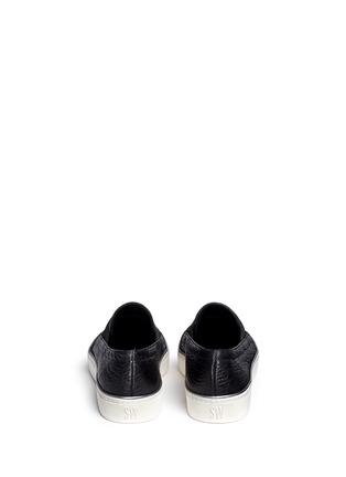 Back View - Click To Enlarge - Stuart Weitzman - 'Flex' elastic strap grainy leather skate slip-ons