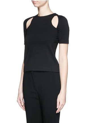 Front View - Click To Enlarge - T By Alexander Wang - Cutout ponte knit top