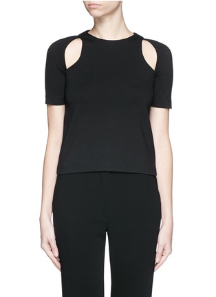 Main View - Click To Enlarge - T By Alexander Wang - Cutout ponte knit top