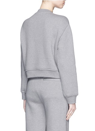 Back View - Click To Enlarge - T By Alexander Wang - Eyelet cotton fleece sweatshirt