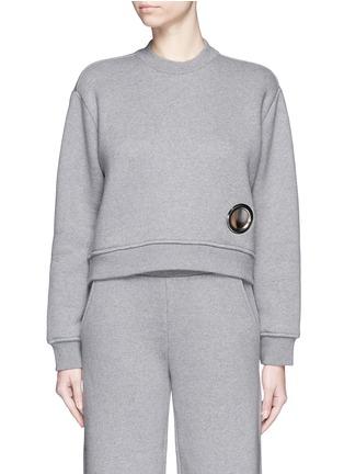 Main View - Click To Enlarge - T By Alexander Wang - Eyelet cotton fleece sweatshirt