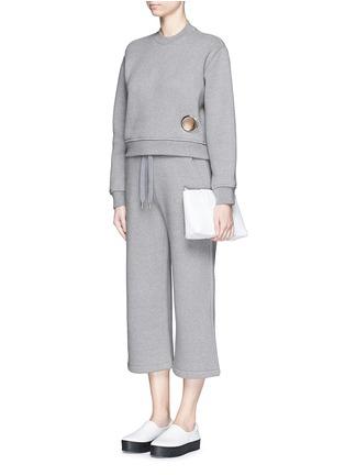 Figure View - Click To Enlarge - T By Alexander Wang - Eyelet cotton fleece sweatshirt