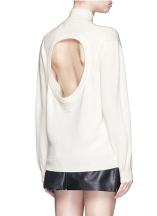 Back View - Click To Enlarge - T By Alexander Wang - Cutout back Merino wool turtleneck sweater