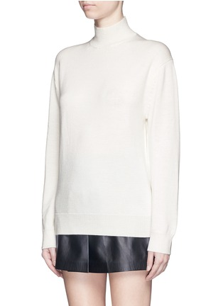 Front View - Click To Enlarge - T By Alexander Wang - Cutout back Merino wool turtleneck sweater
