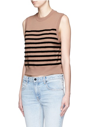 Front View - Click To Enlarge - T By Alexander Wang - Flock velvet stripe cotton fleece sleeveless sweatshirt