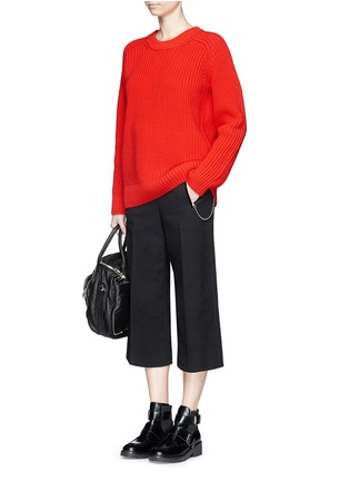 Figure View - Click To Enlarge - T By Alexander Wang - Oversize cotton blend cable knit sweater