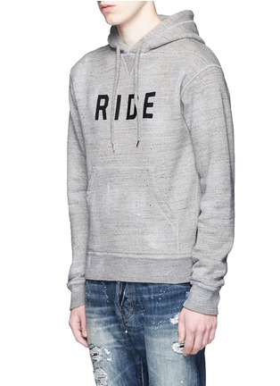 Front View - Click To Enlarge - Dsquared2 - 'Ride' velvet flock marl cotton hoodie