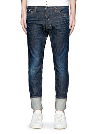 Detail View - Click To Enlarge - Dsquared2 - 'Cool Guy' leopard print calf hair patch jeans