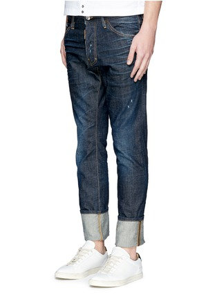 Front View - Click To Enlarge - Dsquared2 - 'Cool Guy' leopard print calf hair patch jeans