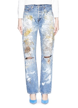 Detail View - Click To Enlarge - RIALTO JEAN PROJECT - One of a kind hand-painted splatter distressed vintage boyfriend jeans
