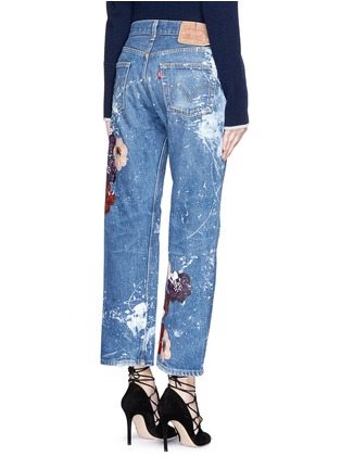 Back View - Click To Enlarge - RIALTO JEAN PROJECT - One of a kind hand-painted cherry blossom vintage boyfriend jeans