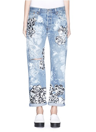 Detail View - Click To Enlarge - RIALTO JEAN PROJECT - One of a kind hand-painted rose vintage boyfriend jeans
