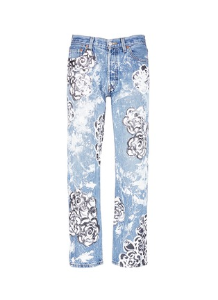 Main View - Click To Enlarge - RIALTO JEAN PROJECT - One of a kind hand-painted rose vintage boyfriend jeans