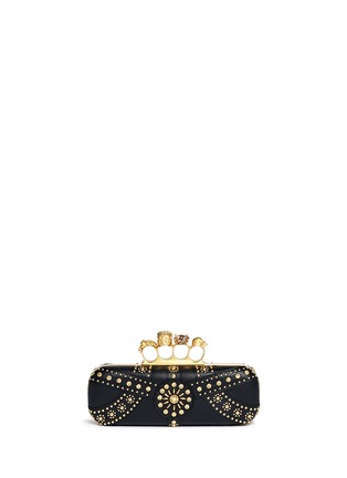 Back View - Click To Enlarge - Alexander McQueen - Stud skull leather knuckle clutch