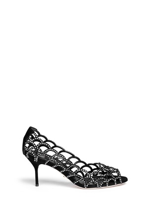 Main View - Click To Enlarge - SERGIO ROSSI - Strass suede open toe pumps