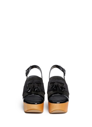 Front View - Click To Enlarge - Robert Clergerie - 'Clara' patent trim tassel suede clog sandals