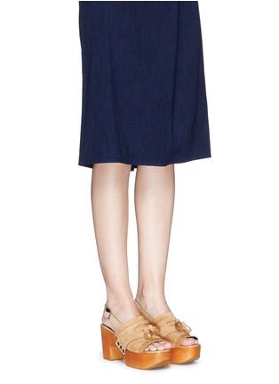 Figure View - Click To Enlarge - Robert Clergerie - 'Clara' patent trim tassel suede clog sandals