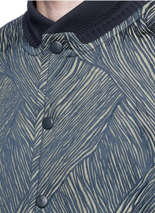 Detail View - Click To Enlarge - CARVEN - Leather sleeve stripe jacquard bomber jacket