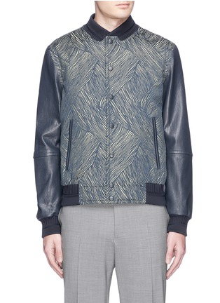 Main View - Click To Enlarge - CARVEN - Leather sleeve stripe jacquard bomber jacket