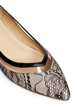 Detail View - Click To Enlarge - PEDDER RED - Vinyl stripe lace overlay leather flats