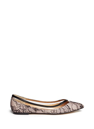 Main View - Click To Enlarge - PEDDER RED - Vinyl stripe lace overlay leather flats