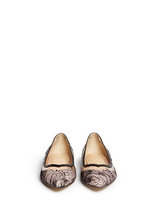 Figure View - Click To Enlarge - PEDDER RED - Vinyl stripe lace overlay leather flats