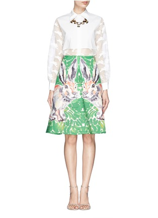 Figure View - Click To Enlarge - Chictopia - Cropped fil coupé bunny shirt