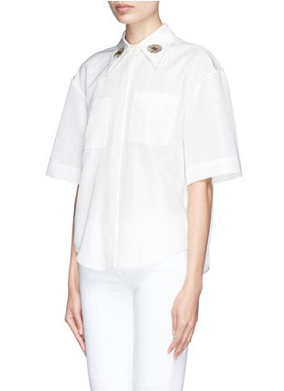 Front View - Click To Enlarge - Chictopia - Flower embroidery point collar poplin shirt