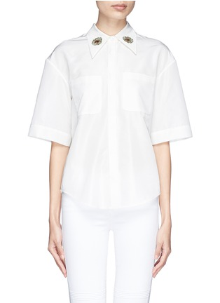Main View - Click To Enlarge - Chictopia - Flower embroidery point collar poplin shirt