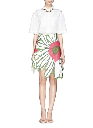 Figure View - Click To Enlarge - Chictopia - Flower embroidery point collar poplin shirt