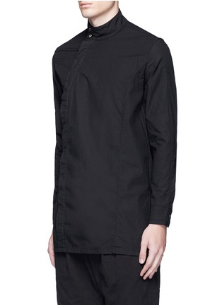 Front View - Click To Enlarge - The Viridi-anne - Asymmetric button collar cotton shirt